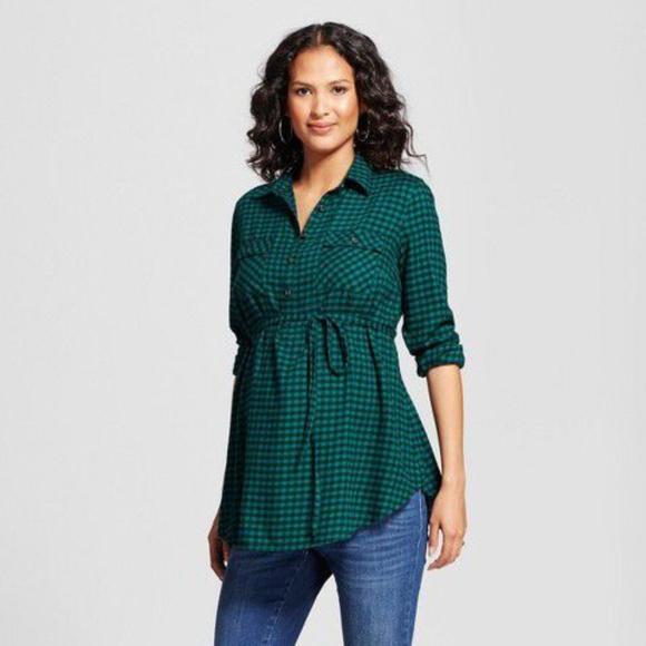 5f31734e0b82f Ingrid & Isabel Tops | Isabel Maternity Flannel Green Plaid Shirt ...